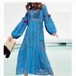 Misa victoria Kaftan cover up Pom Pom maxi dress